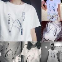Women Fashion Japanese Harajuku Fish Print Short Sleeve T-Shirt Ladies Tops Tees