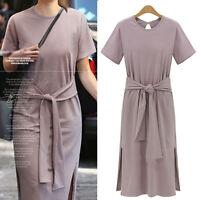 Women Ladies Casual Long Tunic Dress Short Sleeve UK Size 14 16 18 20 22 24 8988