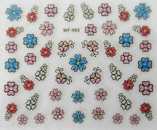 Nail art manucure stickers autocollants ongles: fleurs multicolores paillettes