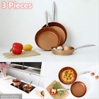 3 Piece Hammered Cookware Set Nonstick Copper Ceramic Coated Pots and Pans Set