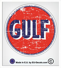 100mm-4'' Distressed Vintage Gulf Oil Laminated Decal Sticker vespa vw classic