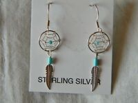 Spectacular sterling silver Navajo earrings dream catchers french wires