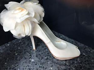 Beverly Feldman  Ivory Satin Flower Bridal Platform Pumps  Size 5 1/2 M