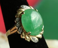 Vintage 14K  gold Icy green Jadeite Jade diamond RING w/ Appraisal Certificate
