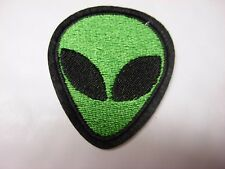 Alien Head Iron on patch. New design. Green with black eyes. Area 51 Martian
