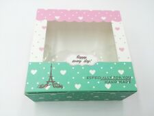 Cute Bakery Box | for Cookie/Cupcake Gift Party | Pink Green Eiffel Tower | 12ct
