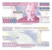 Turkey 1000000 1 Million Lira 1970 (2002) P-213 Banknotes UNC