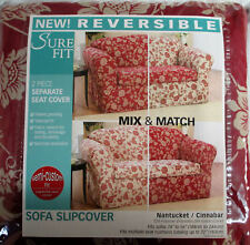 Sure Fit Reversible Nantucket Cinnabar Floral 2 Piece Sofa Slipcover Red and Tan