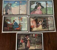 Lot of 5 Men & Women~Romantic Romance Antique~Postcards with Love Poems---s884
