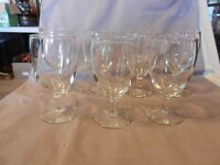 """Set of 7 Vintage Clear Glass Wine or Water Glasses 5.75"""" Tall (M)"""