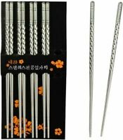 5 Pairs Stainless Steel Chopsticks Non-slip Metal Korean Chinese Stylish Silver