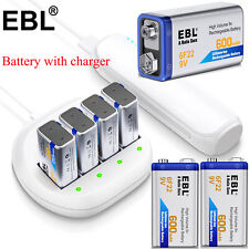 Lot 600mAh 9V 6F22 Li-ion Rechargeable Batteries + 4 slot 9 Volt Battery Charger