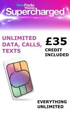 Data Three SIM Card £35 Preloaded for Unlimited Data/internet, calls and texts