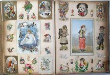 1896 Beautiful VICTORIAN SCRAPBOOK Christmas Cards Decoupage Scraps LARGE FOLIO