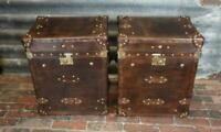 Antique Pair of Handmade Leather Occasional Side Table Trunks ZA11
