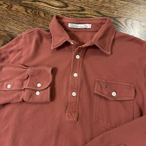 Criquet Long Sleeve Polo Size Medium Burnt Red Organic Cotton USA