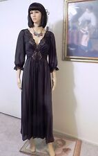OLGA vintage BLACK Nylon Long Sleeved Nightgown style 92470 7 1 size L large