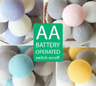 20 PASTEL & GREY COTTON BALL LED BATTERY OPERATED STRING LIGHTS WEDDING KIDROOM