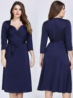 Ever-Pretty Midi Bodydon Dresses V Neck 3/4 Sleeve Lace-up Cocktail Party Dress