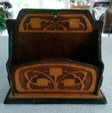 Vintage Carved Wooden Relief Letter Rack / Post Holder Naive Art Nouveau Style