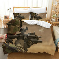 Military Fans Bedding Set Duvet Cover and Pillowcase Twin Full Queen King