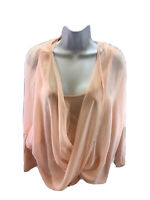 White House Black Market Women's Pink Twist Layered 3/4 Sleeve Blouse M