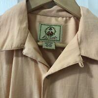 Joe Marlin Men's Large Short Sleeve Button-Down Hawaiian Shirt Peach Rayon Blend