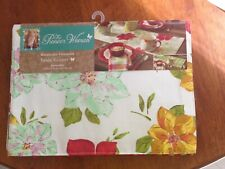 "PIONEER WOMAN GREEN GINGHAM POINSETTIA TABLE RUNNER  REVERSIBLE 72"" x 14"" NEW"