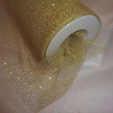 Tulle Gold Fabric 15cm w x 3m piece table floristry craft metallic fleck mesh