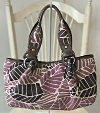 FOSSIL Canvas Earthy Purple Leaf Brown Trim Satchel Shoulder Handbag Purse Bag