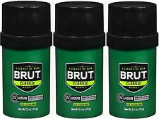 BRUT Deodorant SOLID ROUND Original Fragrance 2.50 oz (3 pack)***