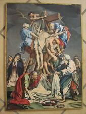 Antiquités peintures Gouache Croix baisse de 1800