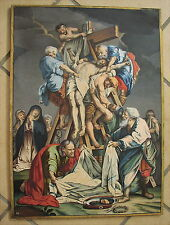 Antikes Gemälde Gouache Kreuzabnahme um 1800