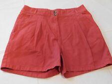 H&M Pantaloncini Corti Donne Taglia 8 Rosso Pieghe Sul davanti Cotone Breve