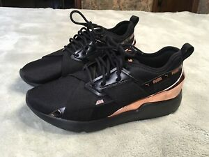 Womens Puma Sneakers Tennis Shoes Size 8.5 Black and Rose Gold 370838-01
