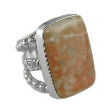 Offerings Sajen 925 Sterling Silver Ocean Jasper Rectangle Ring Sz. 6