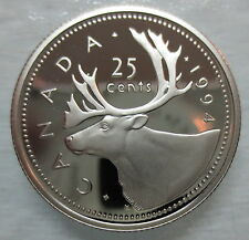 1994 CANADA 25 CENTS PROOF QUARTER HEAVY CAMEO COIN