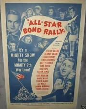 ALL-STAR BOND RALLY '44 LINENBACKED 1 SHEET WWII WITH FRANK SINATRA, ETC.