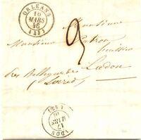 "FRANKREICH ""ORLÉANS"" u selt. Taxe ""9"" a. Kab.-Vorphilabrief nach ""LADON"" K2 1846"