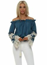 Lace Bandeau Fitted Long Sleeve Women's Tops & Shirts