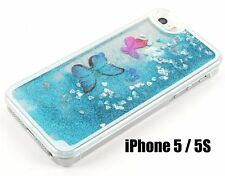 for iPhone SE 5S - BLUE CLEAR Butterfly Liquid Glitter Waterfall Hard Cover Case