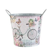 Clayre & Eef Eimer Blumentopf Eisen Fahrrad Blumen Schmetterlinge 17x15 cm