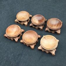 45mm 6pcs Wholesale Red Wood Sphere Pedestal Base Crystal Holding Stand DZ007