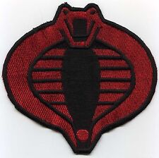 "GI Joe Cobra Commander Small 3"" Red & Black Fully Embroidered Patch w/HOOK back"