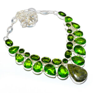 """Vasonite & Peridot Solid 925 Sterling Silver Jewelry Necklace 17.99"""" F2548"""