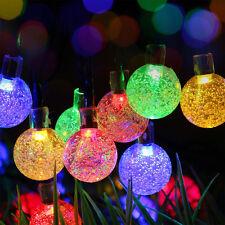 50LED Multi Colour Crystal Ball Globe Lights Solar Outdoor String Light Patio
