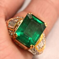 TOP AAA+++ 9.85 Ct Natural Green Zambia Emerald Engagement 18k gold Diamond Ring