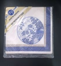 20 Beautiful Blue Willow Paper Napkins Made in Denmark Original Packaging