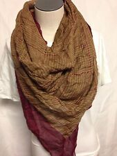Ralph Lauren Equestrian Inspired Scarf 4F0205 Brown/Maroon New w/ Tags