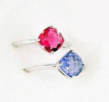 $100 Swarovski SS LEA Pair of Rings PINK & PURPLE (Small/52/6) #1047374 New